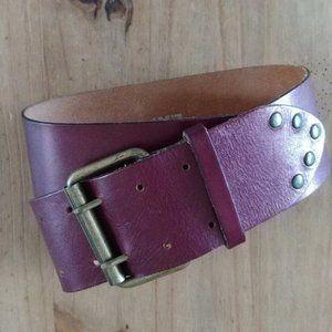 Express burgundy leather & brass belt